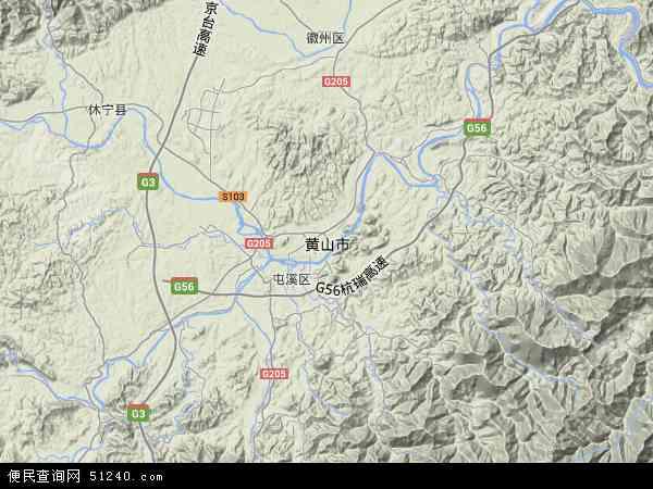 黄山市地图 - 黄山市卫星地图