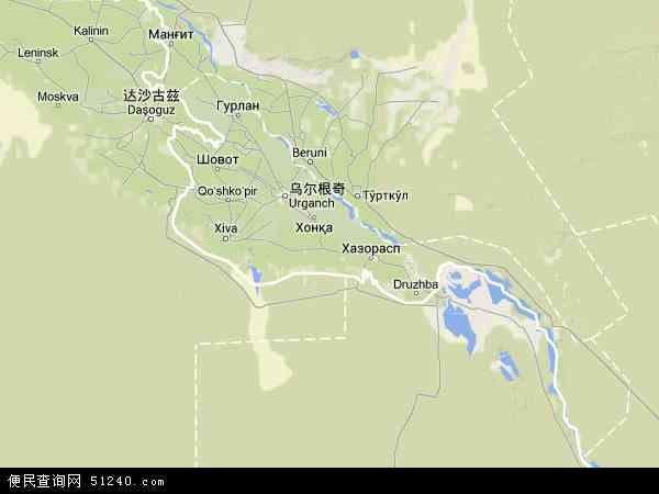 花拉子模高清卫星航拍地图