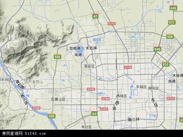 中国北京市海淀区地图(卫星地图)