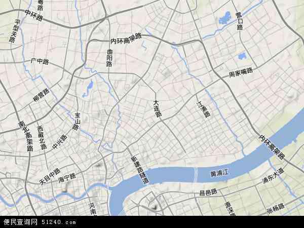 虹口区地图 - 虹口区卫星地图图片