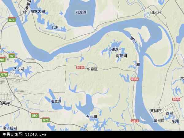 中国湖北省鄂州市华容区地图(卫星地图)