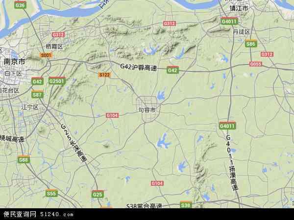中国江苏省镇江市句容市地图(卫星地图)