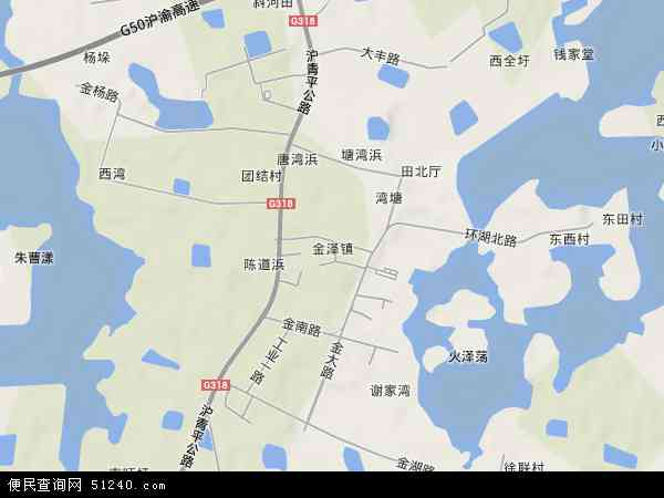 中国上海市青浦区金泽镇地图(卫星地图)
