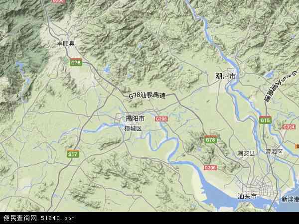 中国广东省揭阳市揭东区地图(卫星地图)