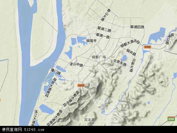 中国安徽省铜陵市郊区地图(卫星地图)