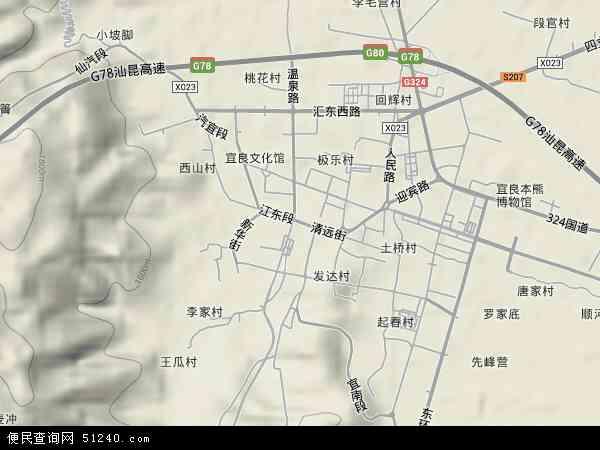 中国云南省昆明市宜良县匡远地图(卫星地图)