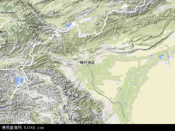 喀什地区地图 - 喀什地区卫星地图 - 喀什地区高