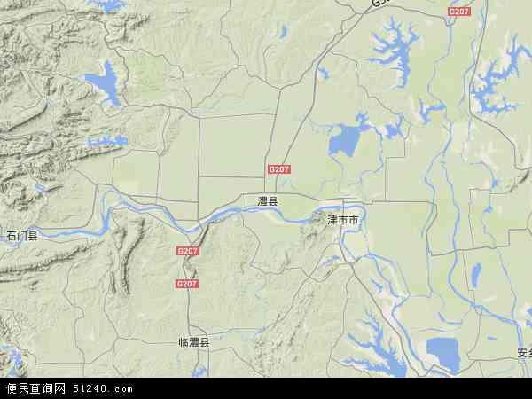 中国湖南省常德市澧县地图(卫星地图)