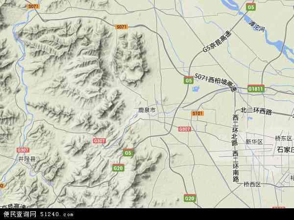 中国河北省石家庄市鹿泉市地图(卫星地图)