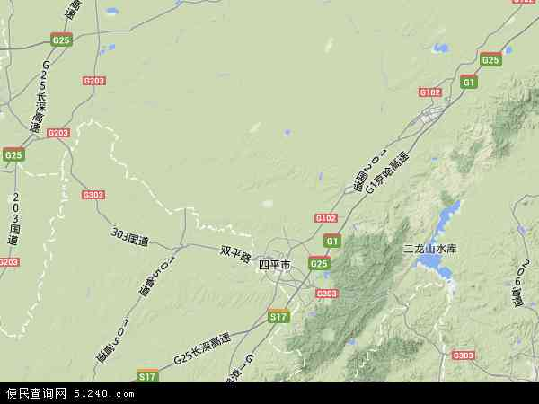 中国吉林省四平市梨树县地图(卫星地图)