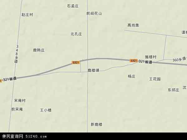 中国江苏省徐州市沛县鹿楼镇地图(卫星地图)