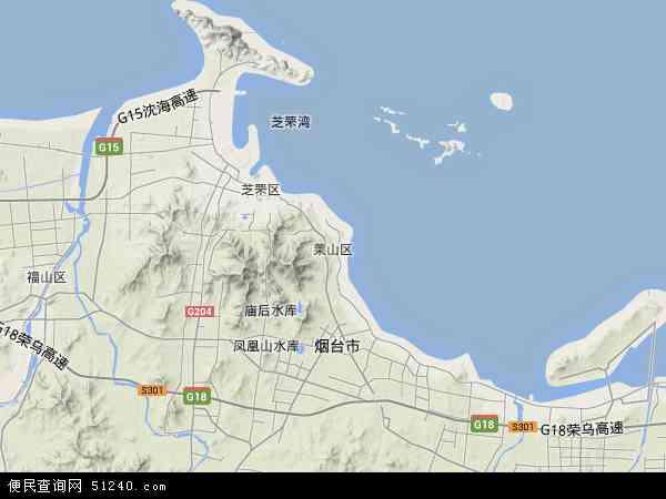 中国山东省烟台市莱山区地图(卫星地图)