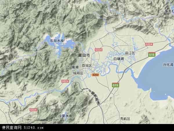 中国福建省莆田市荔城区地图(卫星地图)