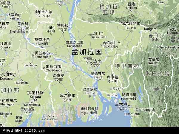 孟加拉地形图 - 孟加拉地形图高清版 - 2016年孟加拉地形图