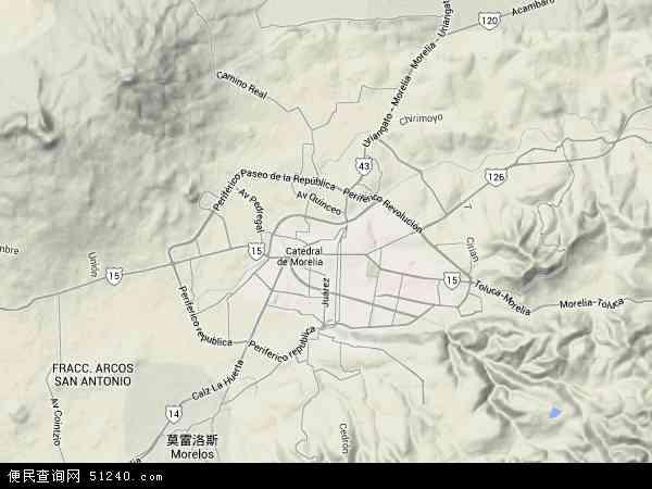 墨西哥莫雷利亚地图(卫星地图)