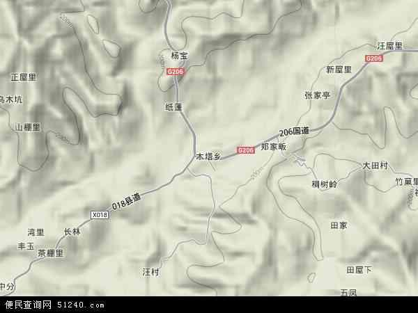 中国安徽省池州市东至县木塔乡地图(卫星地图)
