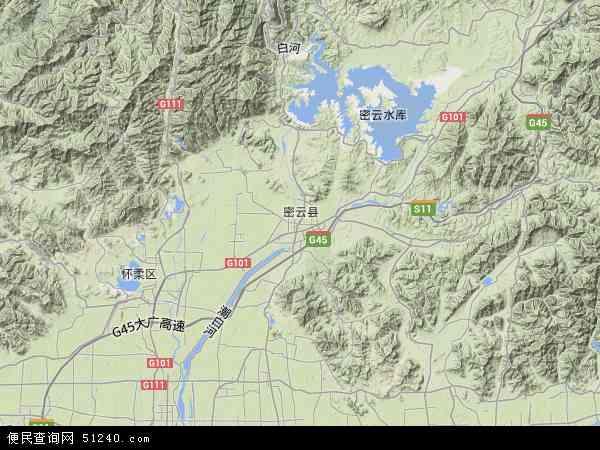 中国北京市密云县地图(卫星地图)