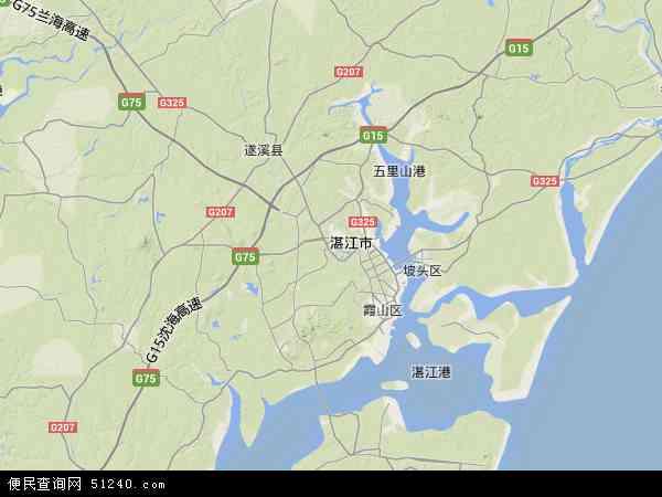 中国广东省湛江市麻章区地图(卫星地图)