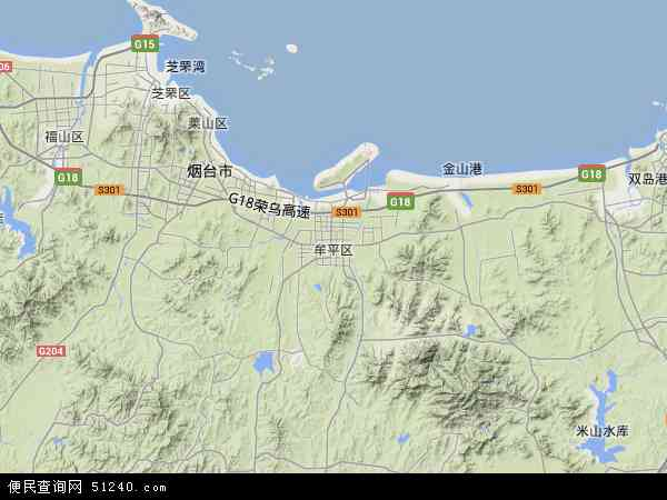 中国山东省烟台市牟平区地图(卫星地图)