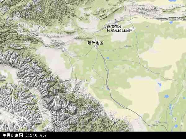 中国新疆维吾尔自治区克孜勒苏柯尔克孜自治州阿克陶县苗圃地图(卫星