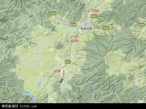 中国黑龙江省牡丹江市宁安市地图(卫星地图)