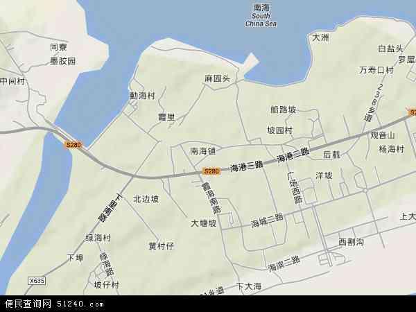 中国广东省茂名市茂港区南海地图(卫星地图)