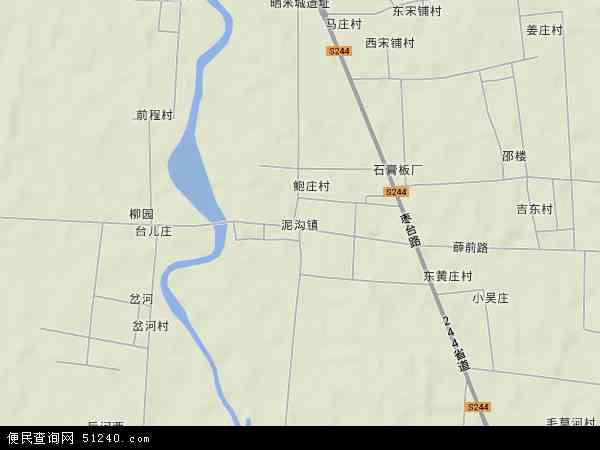 中国山东省枣庄市台儿庄区泥沟镇地图(卫星地图)