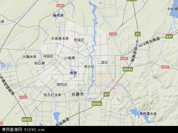 中国吉林省长春市南关区地图(卫星地图)