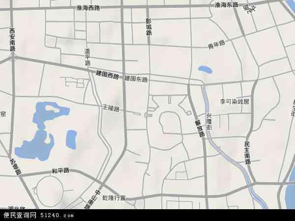 中国江苏省徐州市云龙区彭城地图(卫星地图)