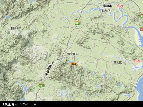 中国广东省揭阳市普宁市地图(卫星地图)