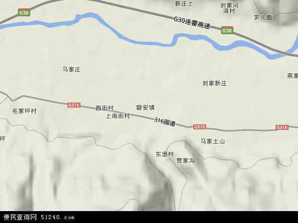 中国甘肃省天水市甘谷县磐安镇地图(卫星地图)