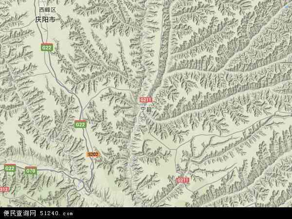 中国甘肃省庆阳市宁县盘克镇地图(卫星地图)图片