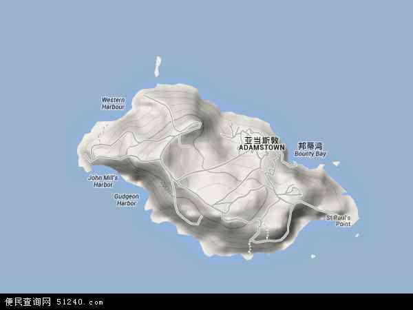皮特凯恩地形图 - 皮特凯恩地形图高清版 - 2016年皮特凯恩地形图