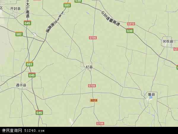 中国河南省开封市杞县地图(卫星地图)