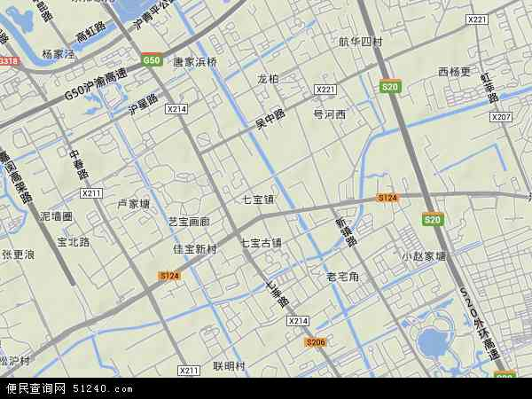 中国上海市闵行区七宝镇地图(卫星地图)
