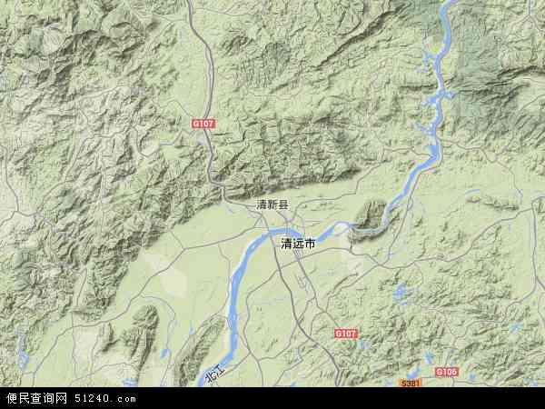 中国广东省清远市清新区地图(卫星地图)