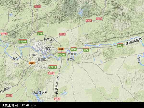 青秀区2017年卫星地图 中国广西壮族自治区南宁市青秀区地图