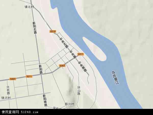 中国黑龙江省双鸭山市饶河县饶河镇地图(卫星地图)图片