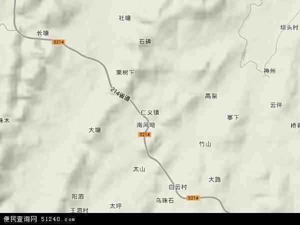 中国湖南省郴州市桂阳县仁义镇地图(卫星地图)