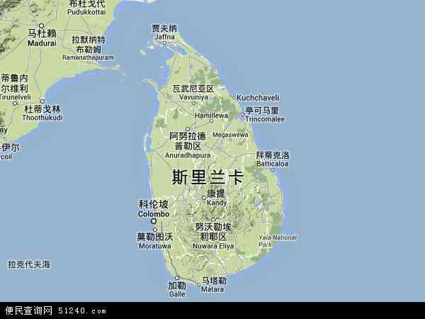 斯里兰卡地图 - 斯里兰卡卫星地图