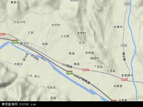 中国陕西省商洛市丹凤县商镇地图(卫星地图)