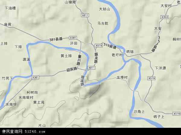 中国江西省赣州市上犹县社溪镇地图(卫星地图)