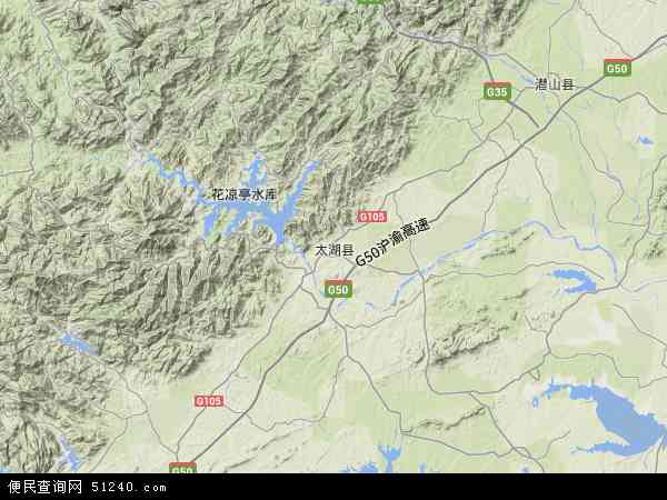 中国安徽省安庆市太湖县地图(卫星地图)图片