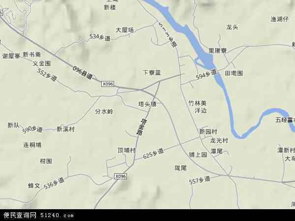 中国广东省揭阳市揭西县塔头镇地图(卫星地图)图片