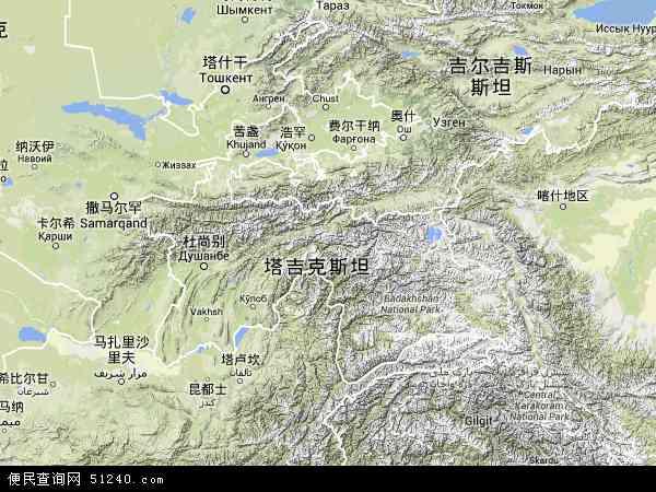 塔吉克斯坦塔博沙尔地图(卫星地图)