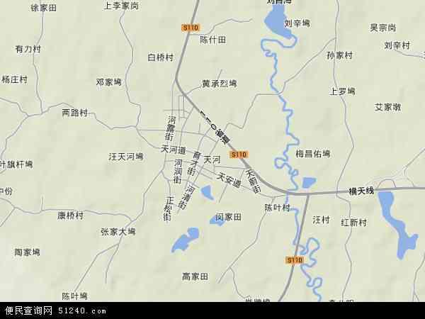 中国湖北省武汉市黄陂区天河地图(卫星地图)
