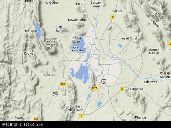 印度乌代布尔地图(卫星地图)