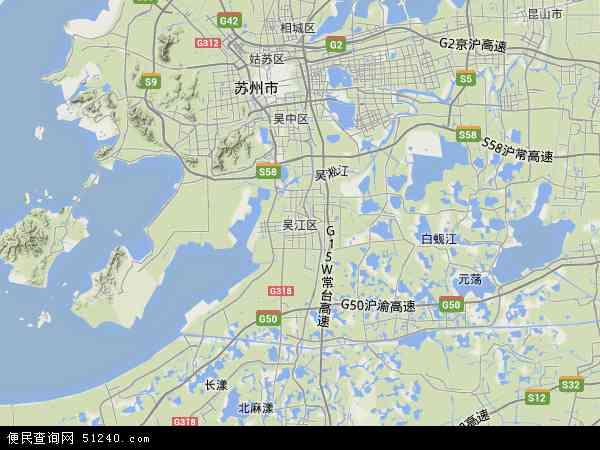 中国江苏省苏州市吴江区地图(卫星地图)