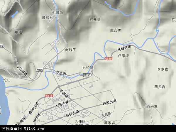 五桥地形图 - 五桥地形图高清版 - 2018年五桥地形图