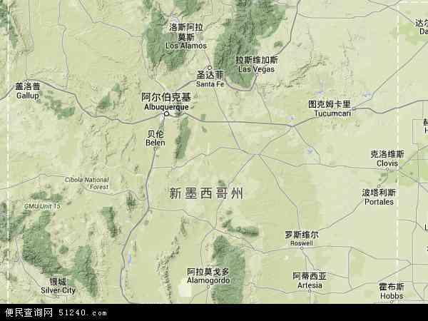 美国新墨西哥地图(卫星地图)